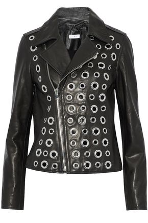 RTA Eyelet-embellished leather biker jacket