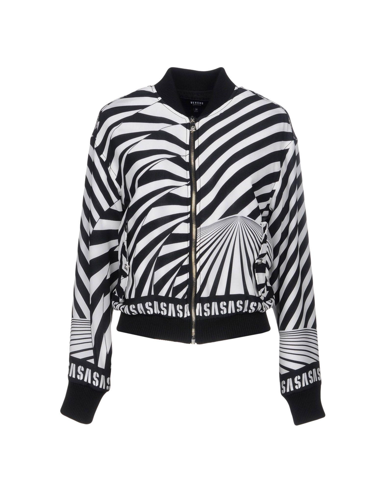 VERSUS VERSACE Куртка куртка бомбер короткая в полоску с вышивкой 100