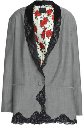 ALEXANDER WANG Lace-trimmed wool-blend blazer