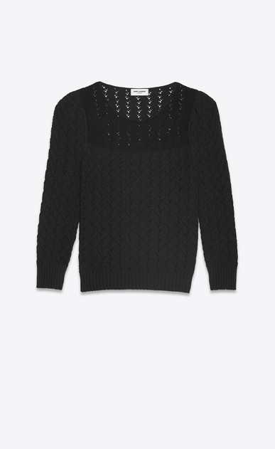 SAINT LAURENT Knitwear Tops Woman Pullover in black Victorian jacquard a_V4