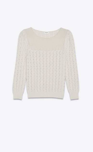SAINT LAURENT Knitwear Tops Woman pullover in ivory victorian jacquard a_V4