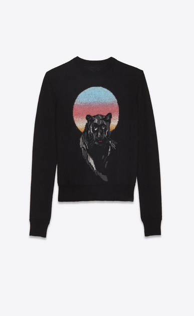 SAINT LAURENT Knitwear Tops Woman PANTHER pullover in black jacquard knit a_V4
