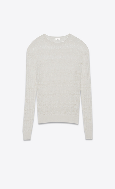 SAINT LAURENT Knitwear Tops Woman Oversized pullover in openwork ivory-striped lace a_V4