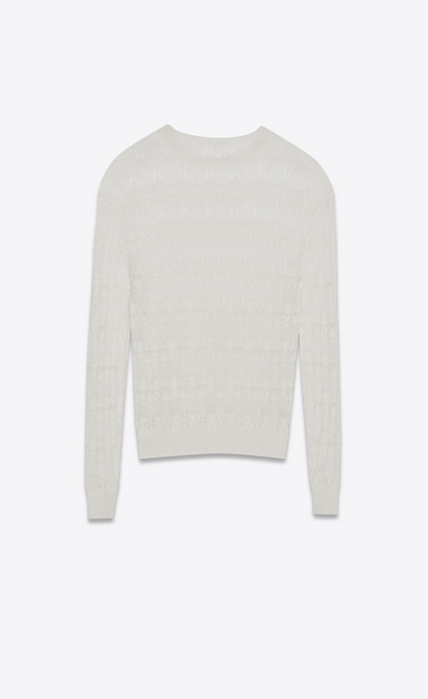 SAINT LAURENT Knitwear Tops Woman Oversized pullover in openwork ivory-striped lace b_V4