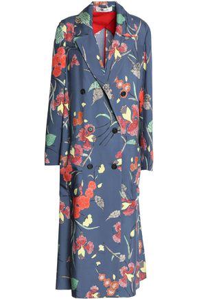 DIANE VON FURSTENBERG Floral-print silk-twill trench coat