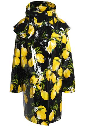 DOLCE & GABBANA Ruffled printed coated-cotton hooded raincoat