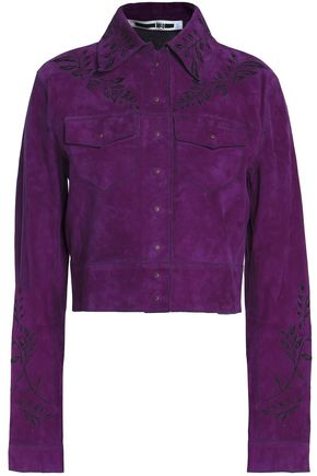 McQ Alexander McQueen Floral-embroidered suede cropped jacket