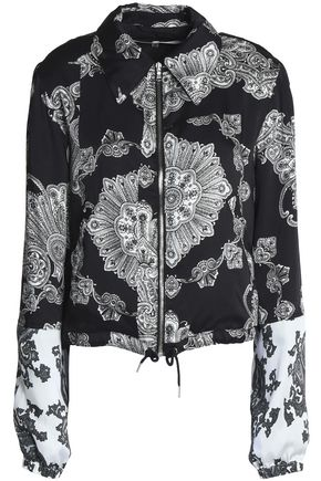 McQ Alexander McQueen Two-tone printed satin-twill jacket