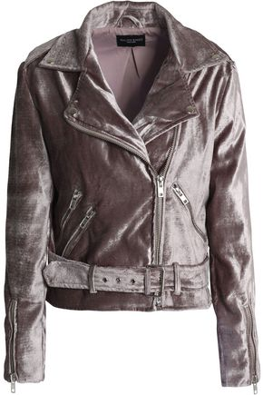 W118 by WALTER BAKER Zip-detailed velvet biker jacket