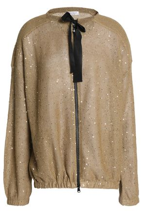 BRUNELLO CUCINELLI Zip-front sequined linen and silk-blend jacket