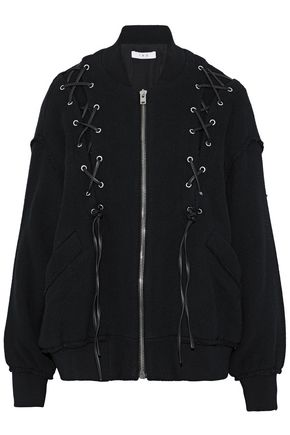 IRO Lace-up cotton-blend bomber jacket