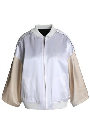 OPENING CEREMONY Logo-embroidered braided-trimmed two-tone silk-satin jacket
