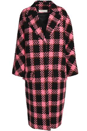 MARNI Checked wool and cotton-blend bouclé coat