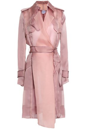 HERVÉ LÉGER Organza-paneled silk-satin trench coat