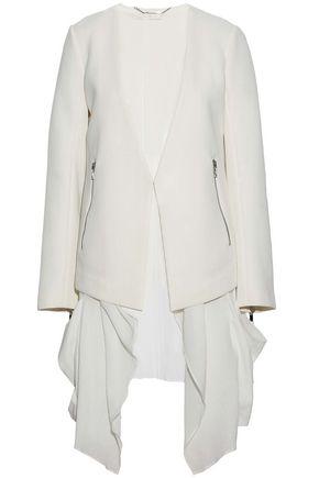 ASHLEY B Layered Tweed And Cotton-Gauze Jacket in Ivory