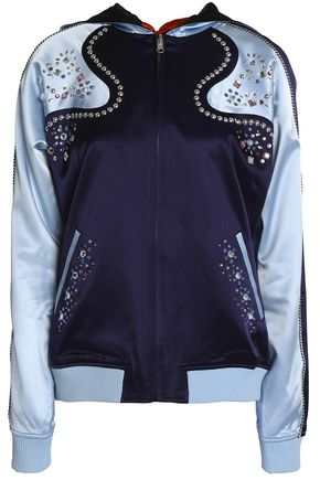 OPENING CEREMONY Reversible appliquéd silk-satin hooded bomber jacket