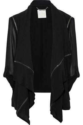 ASHLEY B. Paneled cotton and chiffon jacket