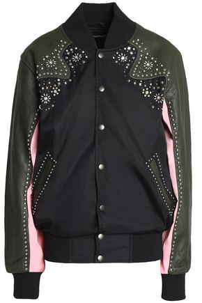 OPENING CEREMONY Embellished leather-paneled shell jacket