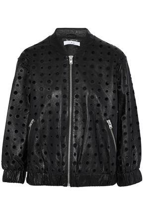 IRO Eyelet-embellished leather bomber jacket
