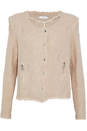 IRO Distressed cotton-tweed jacket