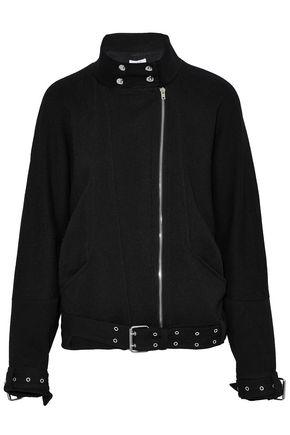 IRO Belted woven cotton-blend biker jacket