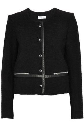IRO Leather-trimmed bouclé-tweed cotton-blend jacket
