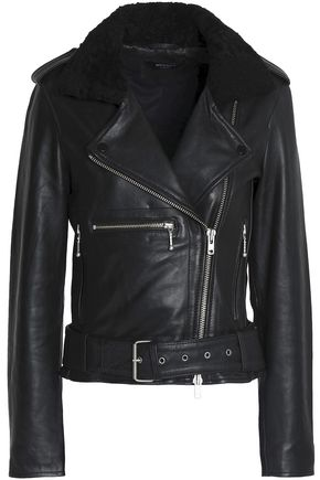 MUUBAA Faux shearling-trimmed leather biker jacket