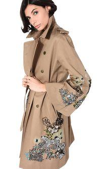 ALBERTA FERRETTI Embroidered trench Long coat Woman e