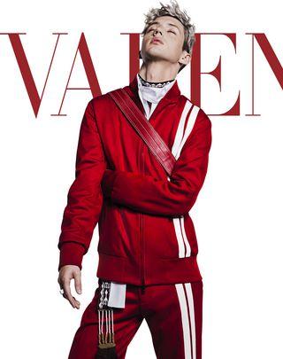 VLTN VALENTINO UOMO Vertical stripe inlays sweatshirt with VLTN logo  Red POLIESTERE 41782264VN