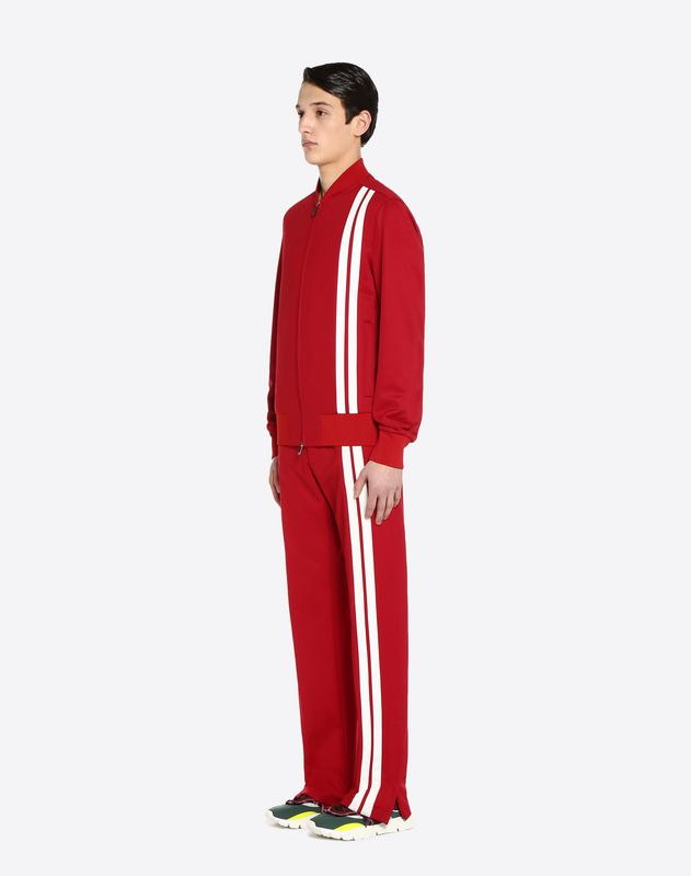 Vertical stripe inlays sweatshirt with VLTN logo
