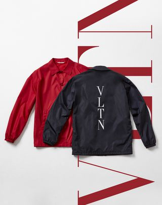 VLTN VALENTINO UOMO Coach jacket with VLTN print     Red POLIESTERE 41782266DD
