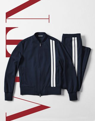 VLTN VALENTINO UOMO Vertical stripe inlays sweatshirt with VLTN logo  Dark blue POLIESTERE 41782267PB