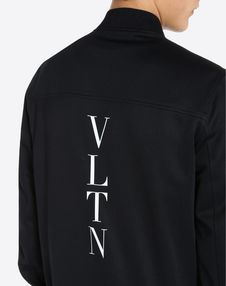 VLTN 徽标竖条纹嵌花抓绒衫