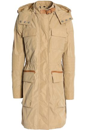 BELSTAFF Leather-trimmed shell hooded jacket
