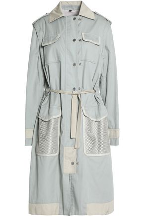BELSTAFF Leather-trimmed cotton trench coat