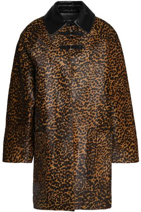 ISABEL MARANT Patent leather-trimmed leopard-print calf hair coat