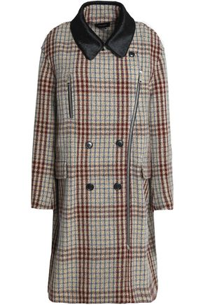 ISABEL MARANT Calf hair-trimmed checked wool coat