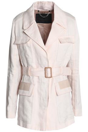 BELSTAFF Belted leather-trimmed linen trench coat