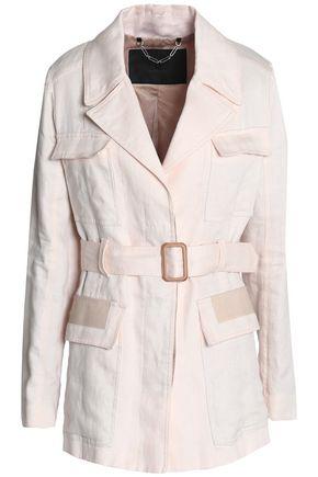 BELSTAFF Belted leather-trimmed linen trench coat