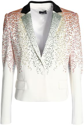 JUST CAVALLI Crystal-embellished ponte blazer
