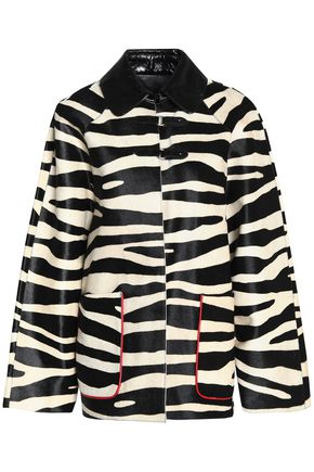 ISABEL MARANT Patent leather-trimmed zebra-print calf hair coat