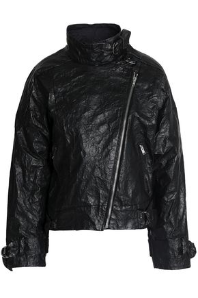 ISABEL MARANT Faux crinkled-leather biker jacket