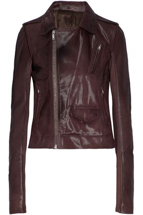 RICK OWENS Calf hair and ribbed cotton biker jacket