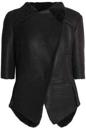 MARNI Shearling and leather jacket