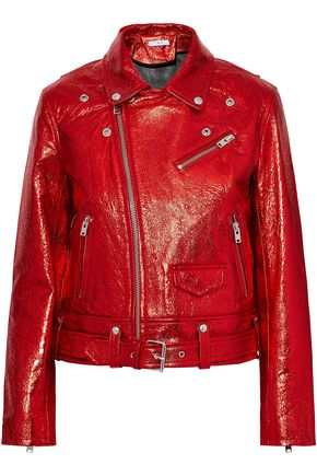 IRO Metallic cracked-leather biker jacket