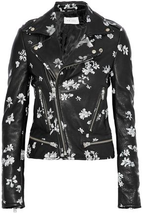 IRO Phedra floral-print leather biker jacket