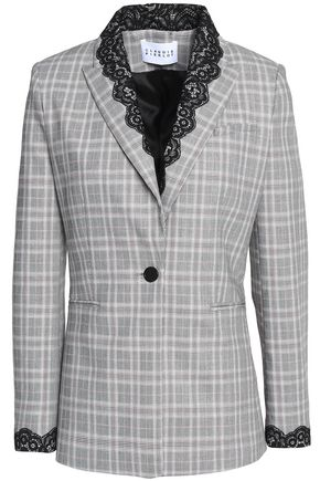 CLAUDIE PIERLOT Lace-trimmed Prince of Wales blazer