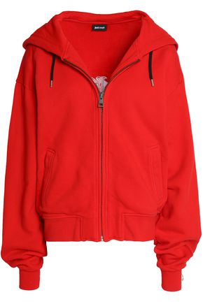 JUST CAVALLI Embellished cotton-terry hooded jacket