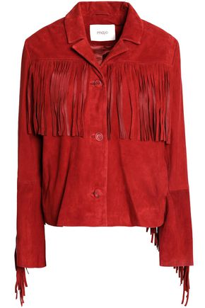 MAJE Fringed suede jacket