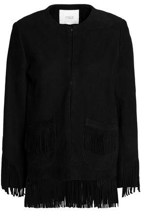 MAJE Fring-trimmed suede jacket